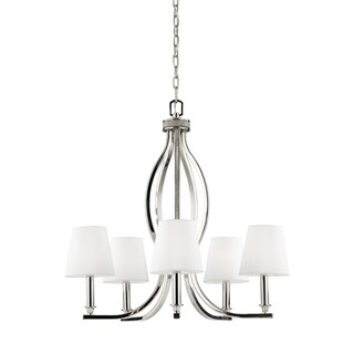 Feiss Pave' 5-light Polished Nickel Crystal Inlay Chandelier - Polished Nickel