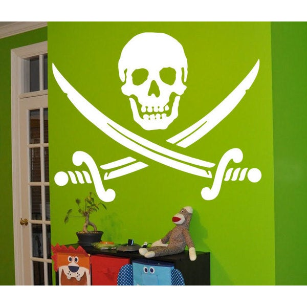 Jolly Roger Piracy Pirate Flag Skull and Bones Sticker Vinyl Wall Art