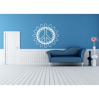 Flower Peace Sign Hippie flower Sticker Vinyl Wall Art