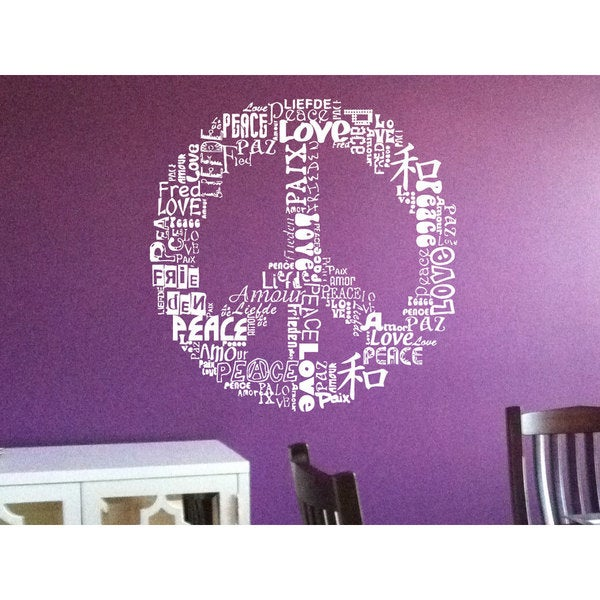 Shop Topographies Peace Sign Made Of Words Sticker Vinyl Wall Art