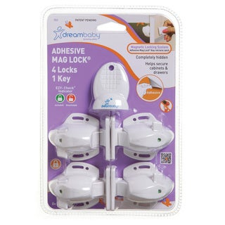 Dreambaby Adhesive Magnetic Lock-4 Locks 1 Key