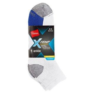 Hanes Men's X-Temp Ventilation Ankle Socks 4-Pack