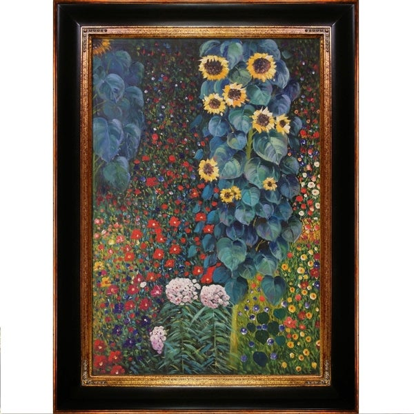Gustav Klimt Farm Garden with Sunflowers Hand Painted Framed Canvas Art 98ed124d1