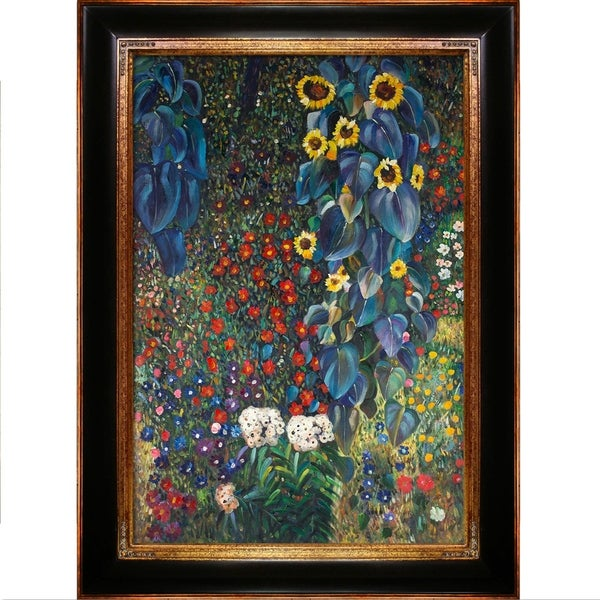 Gustav Klimt Farm Garden with Sunflowers Hand Painted Framed Canvas Art