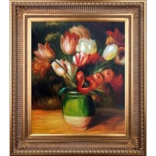 Pierre-Auguste Renoir Tulips in a Vase Hand Painted Framed Canvas Art