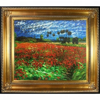 Vincent Van Gogh Field of Poppies Hand Painted Framed Canvas Art