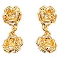 Gold Double Rose Drop Earrings