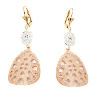 Peermont Jewelry 18k Yellow and Rose Gold and Silver Heart Cutout Teardrop Earrings