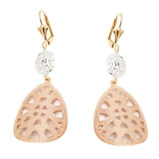 Rose Gold Plated Heart Teardrop Earrings