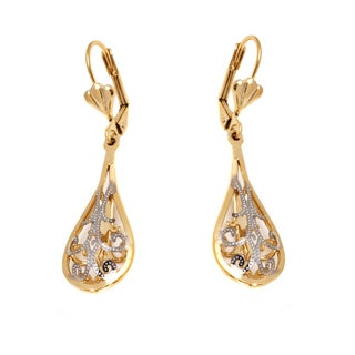 Goldplated Gold and Silvertone Filigree Cutout Teardrop Earrings