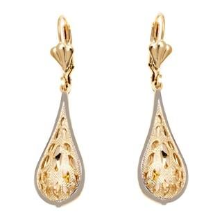 Goldplated Gold and Silvertone Oval Cutout Teardrop Drop Earrings