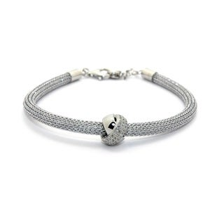 Sterling Silver Cubic Zirconia Knotted Ball Mesh Bracelet