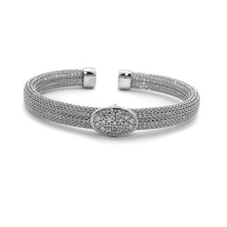 Sterling Silver Cubic Zirconia Oval Mesh Cuff Bangle