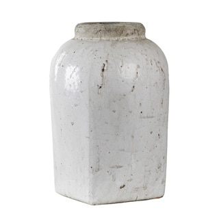Tall White Distressed Jar Vase