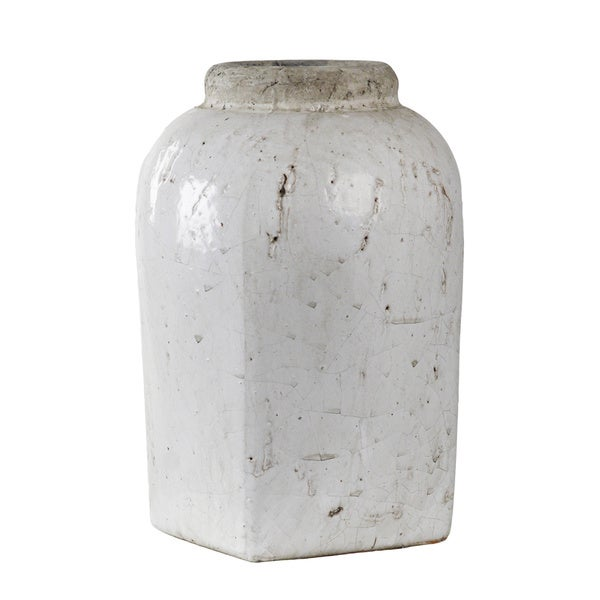 Shop Tall White Distressed Jar Vase Free Shipping On Orders Over