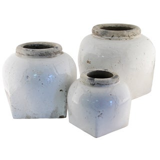 Short White Distressed Jar Vase