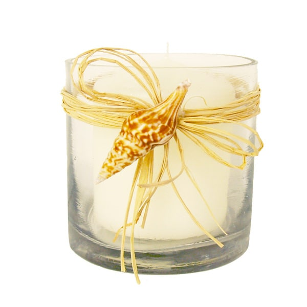 Beach Theme Candle Votive with Raffia Bow and Seashell