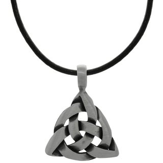 Carolina Glamour Collection Pewter Celtic Triangle Knot Pendant on Black Leather Necklace
