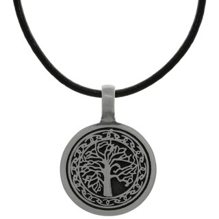 Pewter Celtic Knot Tree of Life Pendant on Black Leather Necklace
