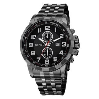 August Steiner Men's Swiss Quartz Multifunction Tachymeter Stainless Steel Black Bracelet Watch