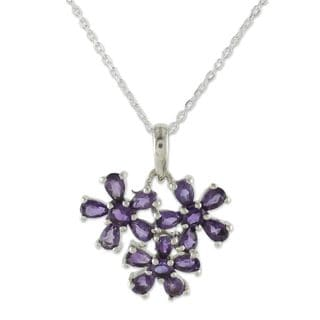 Handmade Sterling Silver 'Bouquet of Wisdom' Amethyst Necklace (India)