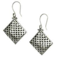 Handmade Sterling Silver 'Bamboo Diamond' Earrings (Indonesia)