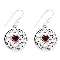 Handmade Sterling Silver 'Foamy Surf' Garnet Earrings (Indonesia)