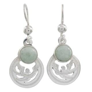 Handmade Sterling Silver 'Quetzal Patriot' Jade Earrings (Guatemala)