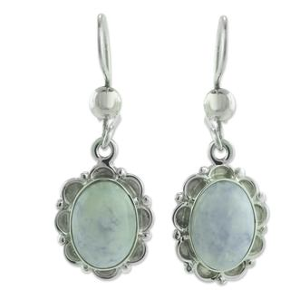 Handmade Sterling Silver 'Princess of the Forest' Jade Earrings (Guatemala)