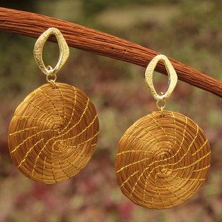 Gold Overlay 'Sublime Nature' Golden Grass Earrings (Brazil)