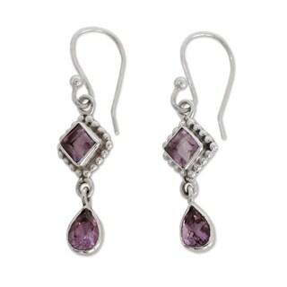 Handmade Sterling Silver 'Purple Spark' Amethyst Earrings (India)