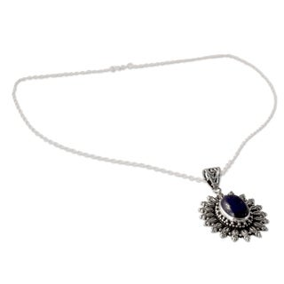 Handmade Sterling Silver 'Royal Allure' Lapis Lazuli Necklace (India)