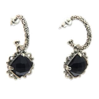 Handmade Sterling Silver 'Sweet Enchantment' Onyx Earrings (Indonesia)