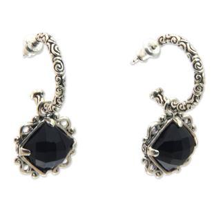 Handmade Sterling Silver 'Sweet Enchantment' Onyx Earrings (Indonesia)