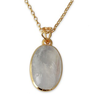 Handcrafted Gold Overlay 'Misty Moonlight' Moonstone Necklace (India)