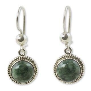 Handmade Sterling Silver 'Green Apple' Jade Earrings (Guatemala)