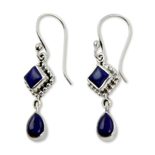 Handmade Sterling Silver Queen of Diamonds Lapis Lazuli Dangling Earrings (India)