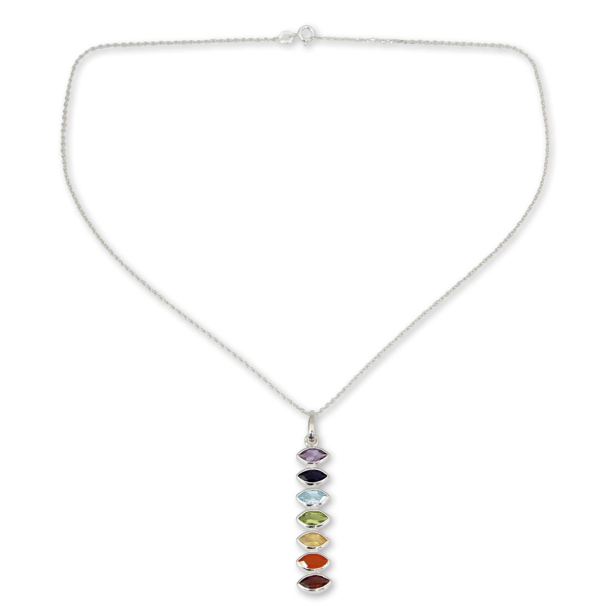 Natural Multi Sterling Silver Charms For Women Pendant Chakra Healing Round Shape Necklace Handmade
