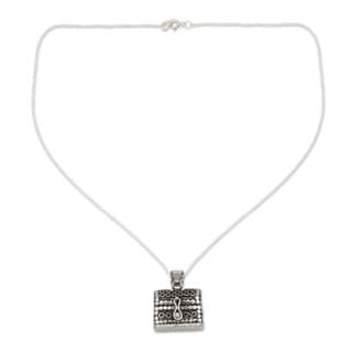 Handmade Sterling Silver 'Prayer Chest' Necklace (India)
