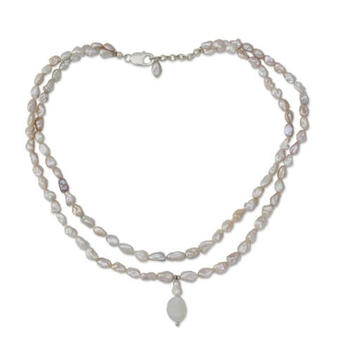 Handmade Pearl 'Perfect Peach' Moonstone Necklace (7.5 mm) (India)