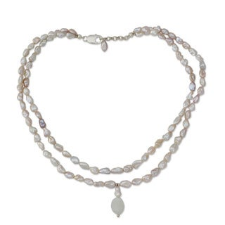 Handcrafted Pearl 'Perfect Peach' Moonstone Necklace (7.5 mm) (India)