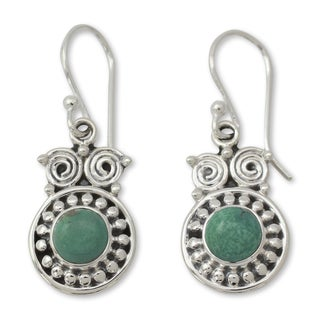 Sterling Silver 'Intuitive Owl' Turquoise Earrings (India)