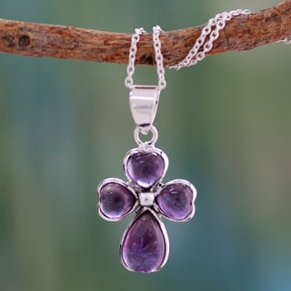 Handmade Sterling Silver 'Heartfelt' Amethyst Necklace (India)