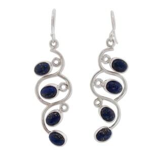 Handmade Sterling Silver 'Lotus Buds' Lapis Lazuli Earrings (India)