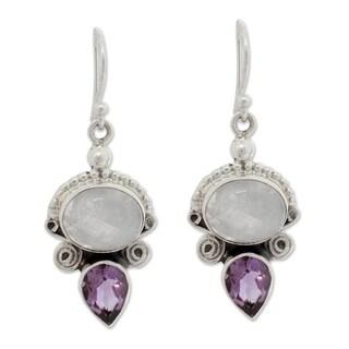 Sterling Silver 'Regal Allure' Moonstone Amethyst Earrings (India)
