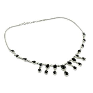 Handmade Sterling Silver 'Midnight Cascade' Onyx Necklace (India)