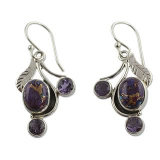 Handmade Sterling Silver 'Dew Blossom' Amethyst Turquoise Earrings (India)