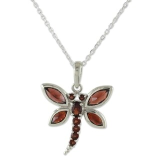 Handmade Sterling Silver 'Dragonfly Dreams' Garnet Necklace (India)