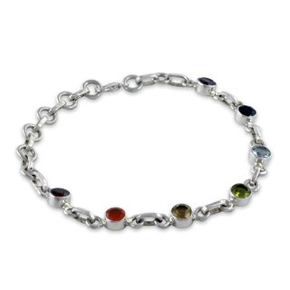 Handcrafted Sterling Silver 'Serenity' Multi-gemstone Bracelet (India)