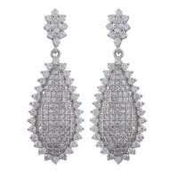 Luxiro Sterling Silver Cubic Zirconia Pave Teardrop Dangle Earrings